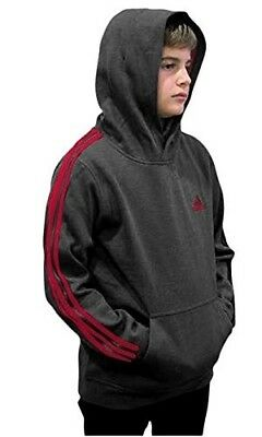 (Youth Small 8, Fleece Pullover Hoodie, Dark Gray/Scarlet) - adidas Youth