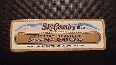 Vintage Ski Country Bourbon Liquor Decanter Label Free Shipping