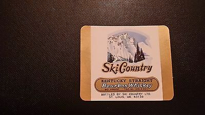 Vintage Square Ski Country Bourbon Whiskey Liquor Decanter Label Free Shipping
