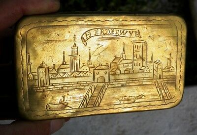 Beautiful Antique Etched Brass Dutch Tobacco Box  From Netherlands