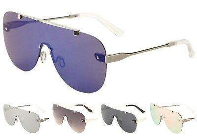 Wholesale 12 Pair Fashion One Piece Shield Sunglasses with Color Mirror Lens