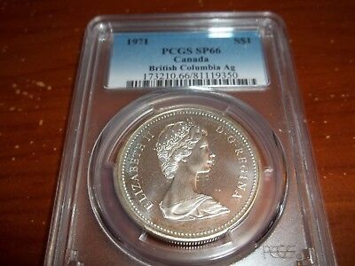 1971 Canada British Columbia Ag Silver Dollar PCGS SP-66