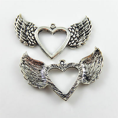 47*31mm Vintage Silver Alloy Pendants Charms Heart With Wings Jewelry Crafts 12x