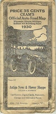 Vintage 1930 CRAM'S Official Auto Road Map of WISCONSIN, ILL, MICHIGAN & INDIANA