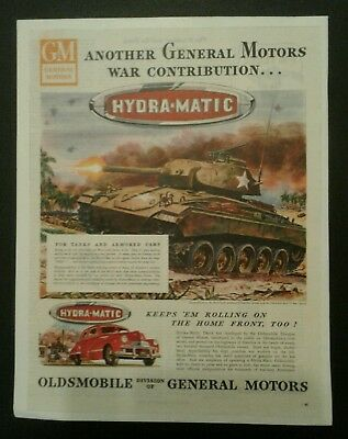 1945 GM Hydra-Matic Tanks and Armored Cars Oldsmobile Vintage Magazine Ad