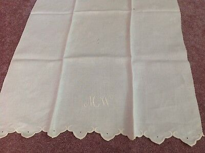 """Antique Large Monogrammed Hand Towel, 23""""x38"""", Clover Pattern, Preowned"""
