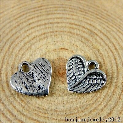 51026 Vintage Silver Alloy Mini Heart Wings Shape Pendants Crafts Charms 99x
