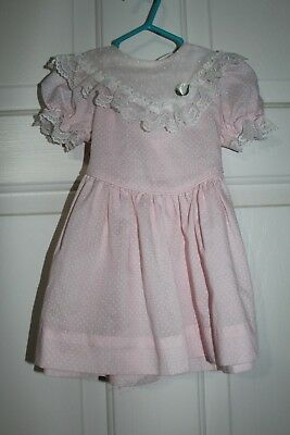 VINTAGE 2T Peaches 'n Cream Party Dress Pink White Dot Lace Rose Frilly Ruffle