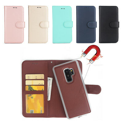 Samsung S9 Plus Note 8 S8 Flip Leather Magnetic Back Removable Wallet Case Cover