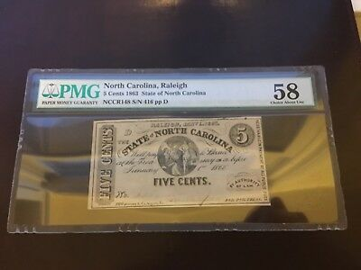 1863 PMG 58 Choice About Unc. North Carolina 5C Fractional Currency Note