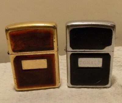 Vintage Zippo Lighter Lot of 2 with Black and Amber Emblems Chrome + Brass
