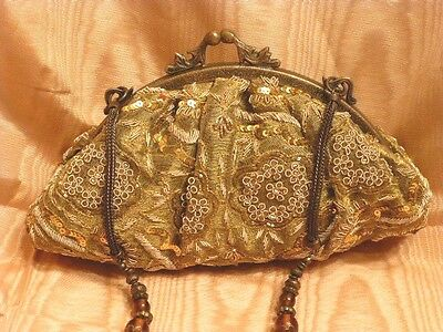 Embellished Antiqued Gold Fabric P.M. Bag With Decorative Metal Strap, New !