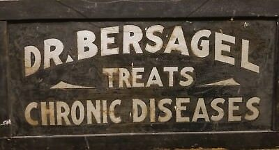 Antique Doctor's Double Sided Treats Chronic Disease Tin Painted Sign, 1860-90
