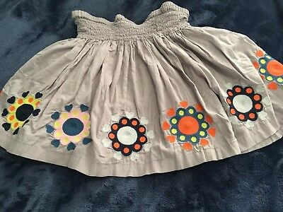 Mini Boden Flowers Skirt Sz. 7-8 Y Embroidered