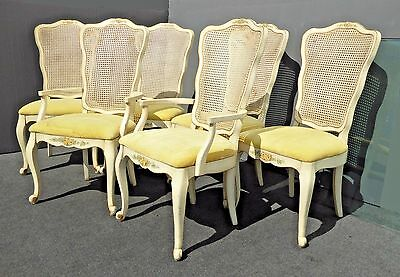 Set of Six Vintage French Country Provincial Off White Cane Back Dining CHAIRS