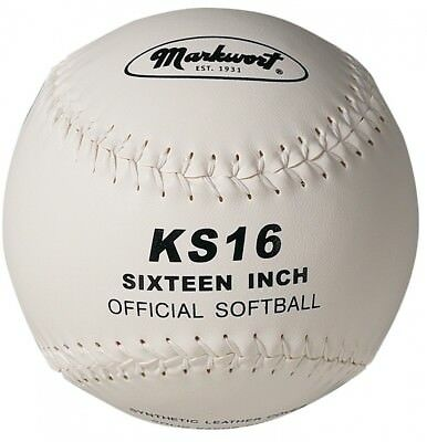 Markwort 40.6cm Synthetic Cover Softball, White. Delivery is Free