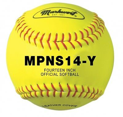 Markwort 35.6cm Synthetic Cover Softball (Yellow with Red Stitch). Free Delivery