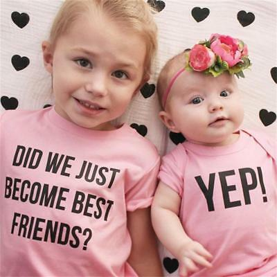 Infant Baby Girl Sister Matching Clothes T Shirt Jumpsuit Romper Bodysuit Outfit