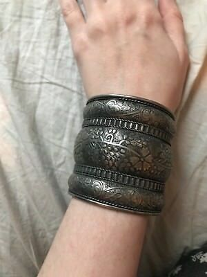 Vintage Antique Silver Look Bracelet Cuff Ethnic Tribal Festival Goth Gothic