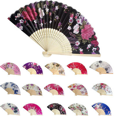 Vintage Bamboo Folding Hand Held Flower Fan Chinese Dance Party Pocket Gifts AU