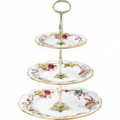 Royal Doulton Old Country Roses Christmas Tree: 3-Tier Cake Stand. Royal Albert