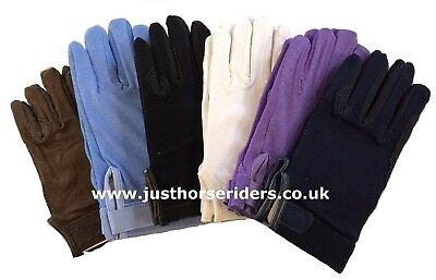 (White, Large) - ALL SIZES & colours Horse Riding Gloves Cotton Pimple Palm