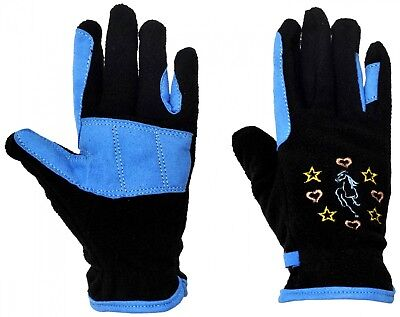 (Medium, Black/Sky Blue) - Riders Trend Kids Riding Fleece Gloves