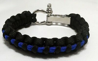 Premium Adjustable Thin Blue Line Police Paracord Bracelet With Stainless