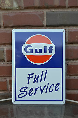 Gulf Full Service Gas Pump Station Shop Sign Garage Collectable Advertisng 10day
