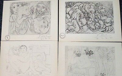 Pablo Picasso 4 Vollard Suite Lithograph prints hand Signed & stamp