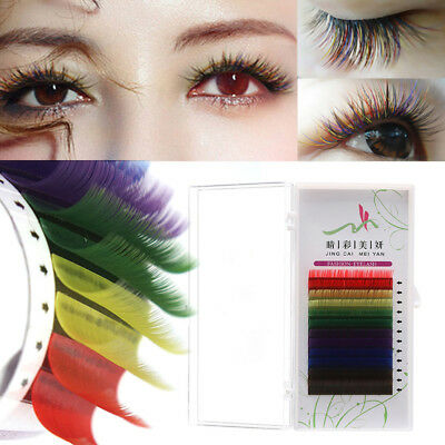 Individual Multi-Colored Eyelash Extensions Mix Rainbow 8 Colors Lashes 8-14mm