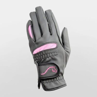 (Large) - Hy5 Lightweight Horse Riding Gloves - Black & Pink Adult Sizes