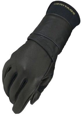 (11, Left Hand) - Heritage Pro 8.0 Bull Riding Glove (Black). Heritage Products