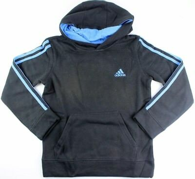 (Youth Small 8, Fleece Pullover Hoodie, Black/Blue) - adidas Youth Fleece