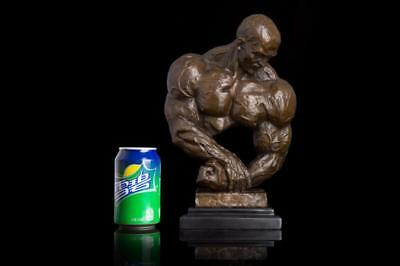 Art Deco handmade Sculpture Bodybuilding man strong Bronze Statue