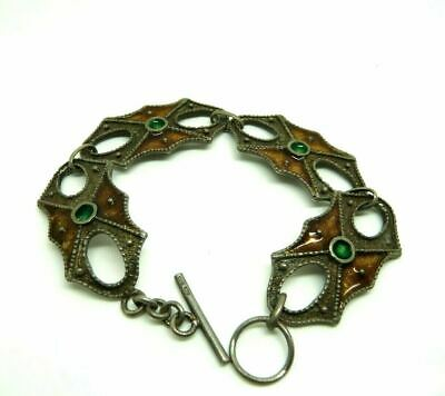 Vintage Bracelet Years' 70 Italian Silver Solid 800 Burnished with Enamels