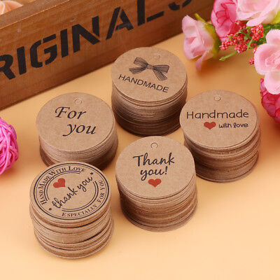 100x Brown Round Craft Paper Hang Tags Labels Wedding Favor Gift Cards Price Tag
