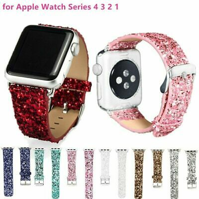 Bling Christmas Shiny Glitter Leather Strap Band for Apple Watch iWatch 38/42mm