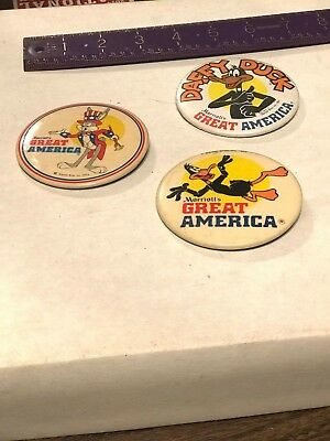 """Three (3) Vintage Marriott's Great America Pin Back Buttons Bugs & Daffy 3"""""""