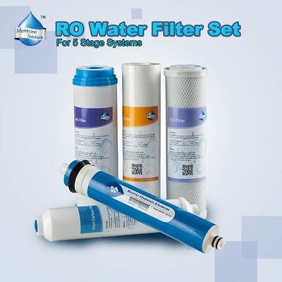 5 Stage Reverse Osmosis RO Replacement Water Filters Kit with 50GPD Membrane HOT