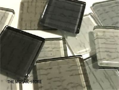 Grey Textured Glass Tiles 2.5cm Handmade - Mosaic Tiles Supplies Art Craft
