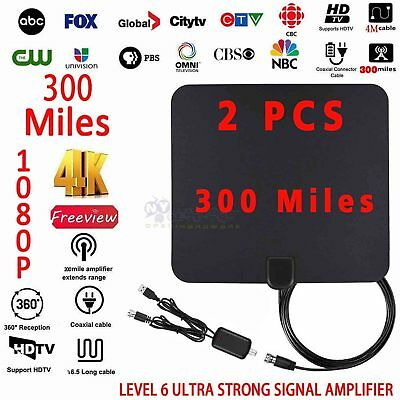 2x HDTV Digital Indoor Antenna Improved TV clear HD 4K 1080P 300 miles Free TV
