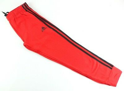 (Youth Small 8, Tapered Hem Sweatpants, Scarlet/Black) - adidas Youth Fleece