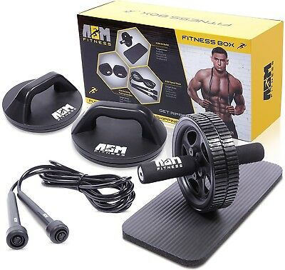 ASM Fitness Box- Ab Wheel Roller with Thick Knee Pad Mat, Rotational Push Up
