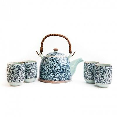 Chinese and Japanese Oriental Blue Floral Four-cups Porcelain Tea Set with