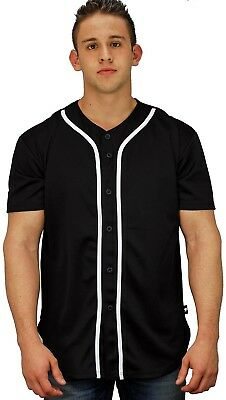(Large, Black) - Baseball Jersey T-Shirts Plain Button Down Sports Tee. YoungLA