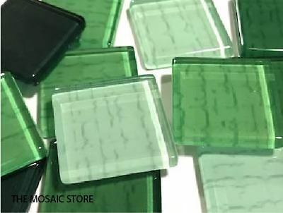 Green Textured Handmade Glass Tiles 2.5cm - Mosaic Tiles Supplies Art Craft