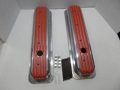 S B Chevy Short Center Bolt Orange Polished  Fin Val Covers