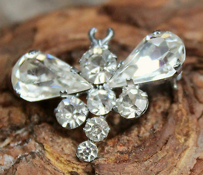 Vintage Brooch Pin Jewellery 50s Ice Rhinestone Dragonfly Costume Retro Novelty