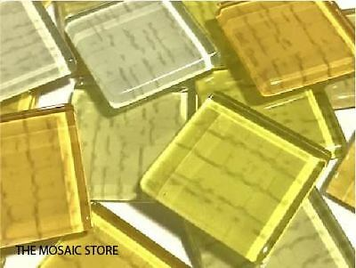 Yellow Textured Handmade Glass Tiles 2.5cm - Mosaic Tiles Supplies Art Craft